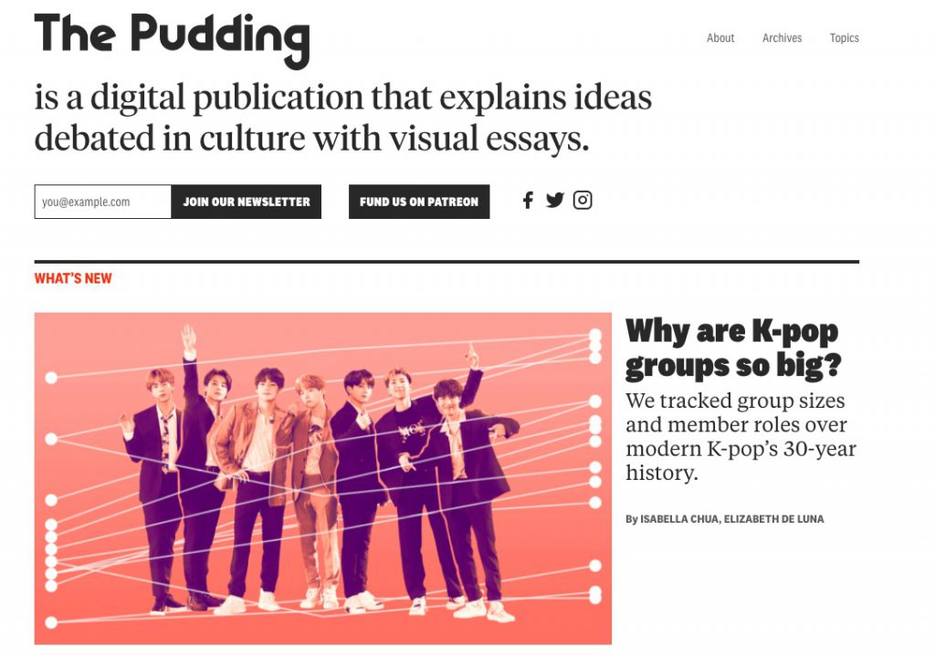 Pudding.cool's homepage on October 5th 2020.